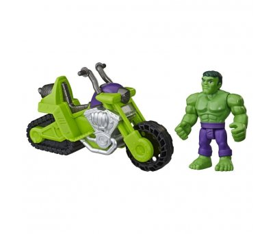 Marvel Super Hero Adventures Hulk Mega Mini Figür ve Motosikleti E7930